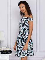 Czarna kwiatowa sukienka z rozkloszowanym dołem                                  zdj.                                  3