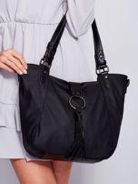 Czarna miękka torba z ozdobną klapką                                  zdj.                                  3