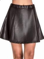 Czarna pikowana spódnica mini ze skóry                                  zdj.                                  5