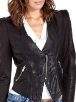 Czarna skórzana kurtka z zamkami                                  zdj.                                  4