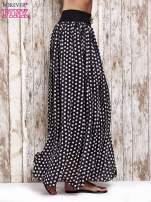 Czarna spódnica maxi w grochy z ozdobnym pasem                                  zdj.                                  3