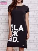 Czarna sukienka dresowa z napisem BLACKED                                  zdj.                                  1