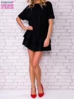 Czarna sukienka dresowa z podwójną falbaną                                  zdj.                                  5