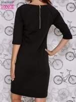 Czarna sukienka dresowa z suwakiem z tyłu                                                                          zdj.                                                                         4