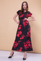 Czarna sukienka maxi w kwiaty                                  zdj.                                  4