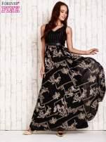 Czarna sukienka maxi ze skórzanym pasem                                  zdj.                                  4