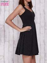 Ecru sukienka retro w groszki z wycięciem przy dekolcie                                                                           zdj.                                                                         3