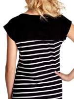 Czarna sukienka w białe paski                                  zdj.                                  6
