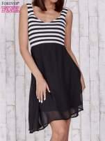 Czarna sukienka z górą w paski                                  zdj.                                  1