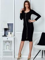 Czarna sukienka z suwakiem                                  zdj.                                  4