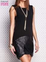 Czarna sukienka ze skórzanym wykończeniem                                  zdj.                                  5