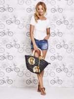 Czarna torba koszyk plażowy z kwiatami                                  zdj.                                  7