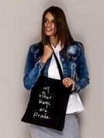 Czarna torba materiałowa MY OTHER BAGS ARE PRADA                                  zdj.                                  3