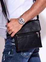 Czarna torba męska z kieszonką na suwak                                  zdj.                                  5