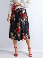 Czarna welurowa plisowana spódnica w kwiaty                                  zdj.                                  1