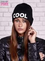 Czarna wywijana czapka z napisem COOL                                                                          zdj.                                                                         1