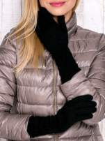 Czarne długie rękawiczki z drapowanym rękawem                                  zdj.                                  1