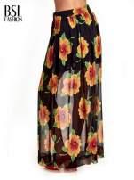 Czarne kwiatowe zwiewne spodnie culottes                                  zdj.                                  2