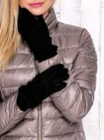 Czarne rękawiczki z ozdobnym marszczeniem
