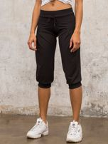 Czarne spodnie capri z wiązaniem                                                                          zdj.                                                                         5