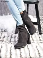 Czarne zamszowe botki faux suede na szerokim obcasie zapinane na suwak                                  zdj.                                  3