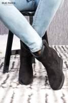 Czarne zamszowe botki na ukrytym koturnie z ociepleniem                                  zdj.                                  2
