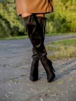Czarne zamszowe kozaki faux suede na szpilkach z bocznym wiązaniem                                  zdj.                                  3