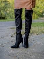 Czarne zamszowe kozaki faux suede na szpilkach z bocznym wiązaniem                                  zdj.                                  4