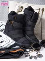 Czarne zamszowe sneakersy bandage z klamerką                                                                          zdj.                                                                         2