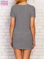 Czarno-biała sukienka w paski z nadrukiem marynistycznym                                  zdj.                                  4
