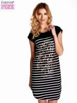 Czarno-biała sukienka w paski z napisem w stylu city                                                                          zdj.                                                                         1