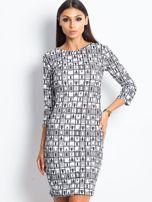 Czarno-biała wzorzysta sukienka tuba                                  zdj.                                  1