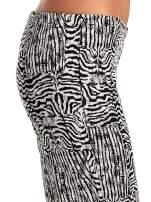 Czarno-białe wzorzyste spodnie typu dzwony                                  zdj.                                  6