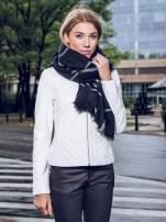 Czarno-biały szalik damski w kratę                                  zdj.                                  8