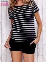 Czarno-biały t-shirt w paski                                                                          zdj.                                                                         1