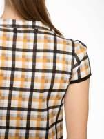 Czarno-pomarańczowa koszula w kratę z krótkim rękawem                                  zdj.                                  7