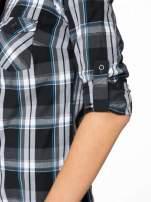 Czarno-turkusowa koszula w kratę z kieszeniami                                  zdj.                                  11