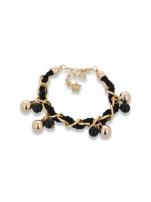Czarno - złota bransoletka z zawieszkami