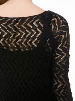 Czarny ażurowy dłuższy sweter                                                                          zdj.                                                                         8