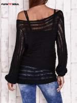 Czarny ażurowy sweter z dekoltem w łódkę FUNK N SOUL                                  zdj.                                  5