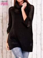 Brązowy ażurowy sweter z golfem FUNK N SOUL                                                                          zdj.                                                                         1
