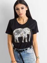 Czarny bawełniany t-shirt z aplikacją                                  zdj.                                  1