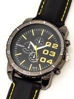 Czarny duży zegarek męski na silikonowym wygodnym pasku z żółtymi wstawkami                                  zdj.                                  2