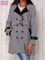 Czarny dwurzędowy płaszcz w jodełkę ze skórzanymi wstawkami                                                                          zdj.                                                                         1