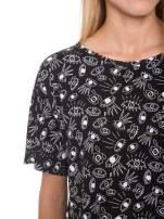 Czarny luźny krótki t-shirt z kieszonką w nadruk oczu                                  zdj.                                  6