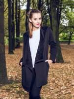 Czarny płaszcz dresowy z asymetrycznymi bokami                                  zdj.                                  11
