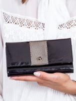 Czarny skórzany portfel z ozdobnym modułem                                  zdj.                                  1