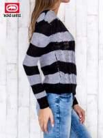 Czarny sweter w paski                                   zdj.                                  3