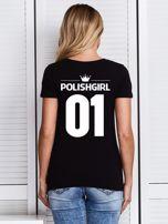 Czarny t-shirt POLISH GIRL z nadrukiem z tyłu                                  zdj.                                  1