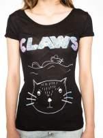 Czarny t-shirt z nadrukiem kota i myszy                                  zdj.                                  7